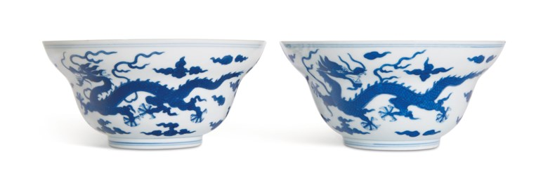 A pair of blue and white ogee bowls, Daoguang six-character seal marks in underglaze blue and of the period (1821-1850). 6¾ in (17.2 cm)  diameter. Estimate $25,000-35,000. Offered in Fine Chinese Ceramics & Works of Art on 22 March 2019 at Christie's in New York