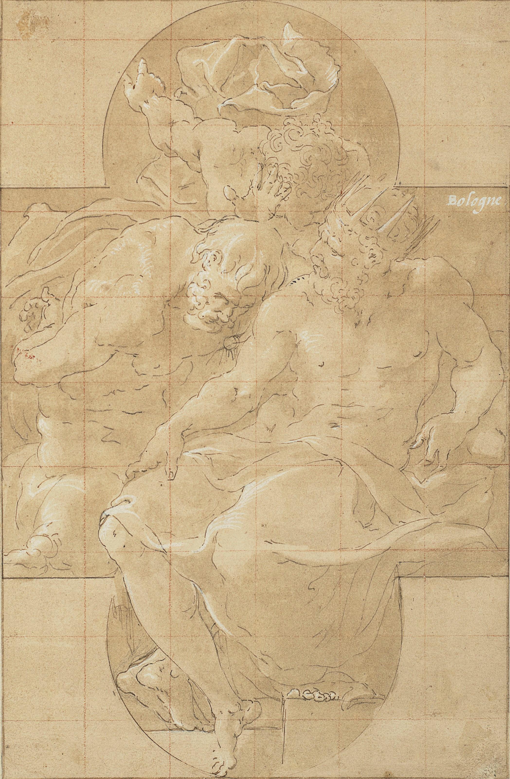 弗兰西斯科‧普列马提乔(1504-1570),《波利米斯托诛杀波里德诺斯》(或普里阿摩斯国王与西农),10 x 6 ½吋(25.3 x 16.4公分),估价:100,000-150,000美元。此拍品于2019年1月31日在佳士得纽约古典大师素描及英国绘画拍卖中呈献。