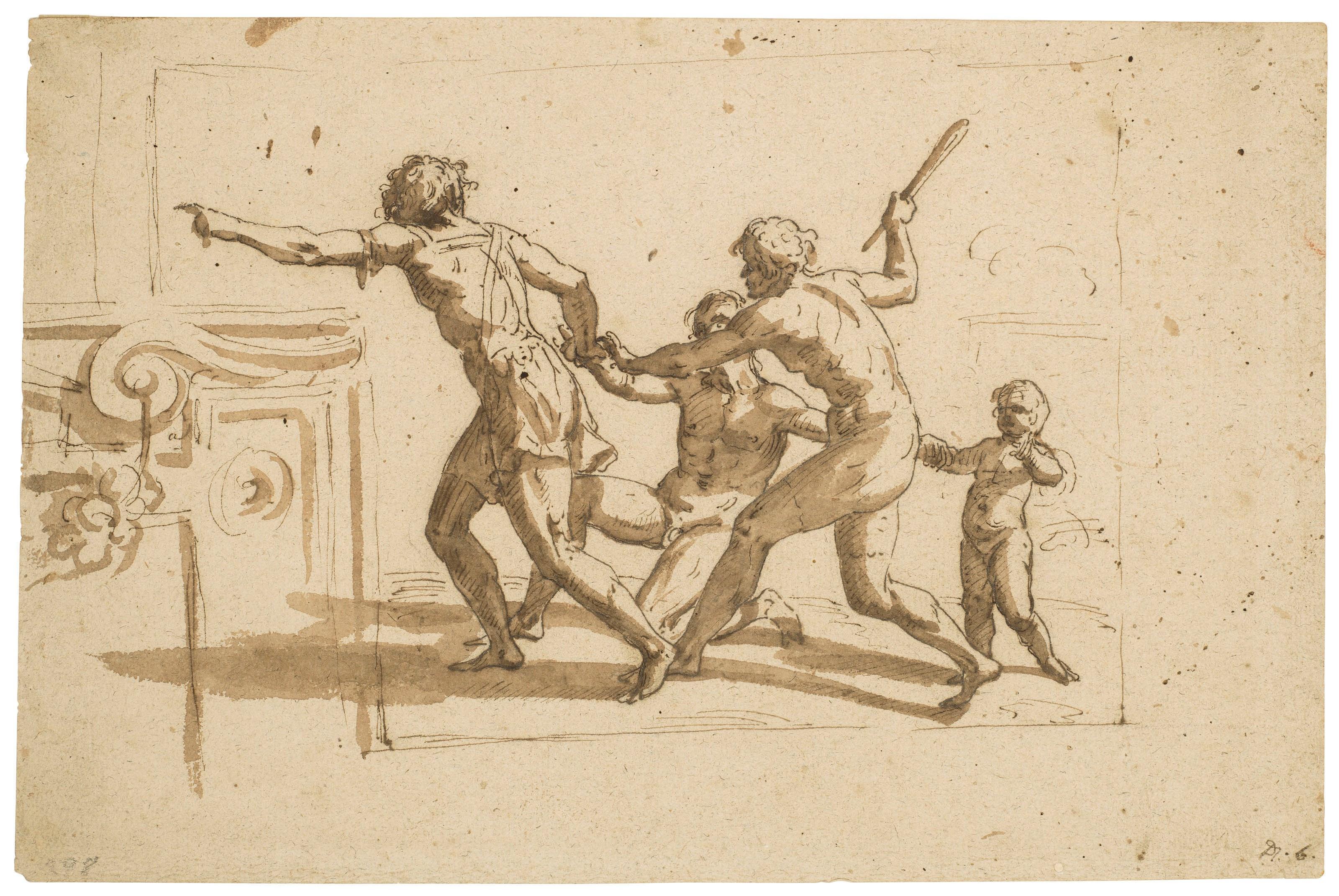 尼古拉斯·普桑(1594-1665)的圈子,《四个人向左跑的古代画面》,8½ x 12¾吋(21.7 x 32.4公分),估价:5,000-7,000美元。此拍品于2019年1月31日在佳士得纽约古典大师素描及英国绘画拍卖中呈献。