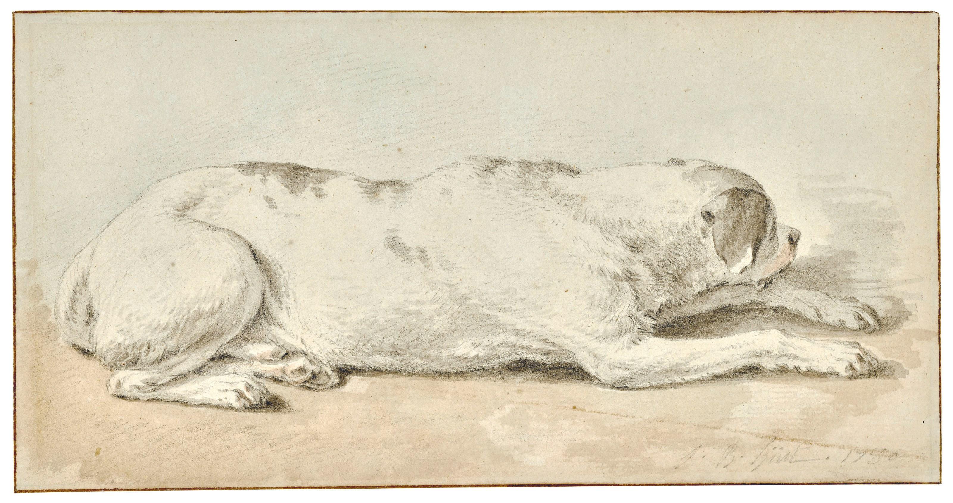 让‧巴普蒂斯特·于埃(1745-1811),《狗》,4½ x 8½吋(10.9 x 20.8公分),估价:3,000-5,000美元。此拍品于2019年1月31日在佳士得纽约古典大师素描及英国绘画拍卖中呈献。