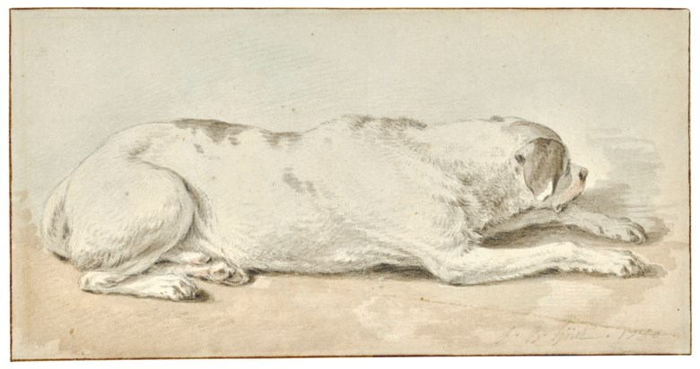 Jean-Baptiste Huet (1745-1811), A dog. 4½ x 8½  in (10.9 x 20.8 cm). Estimate $3,000-5,000. Offered in Old Master & British Drawings on 31 January 2019 at Christie's in New York