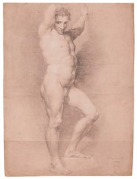 Study of a figure facing right with arms raised