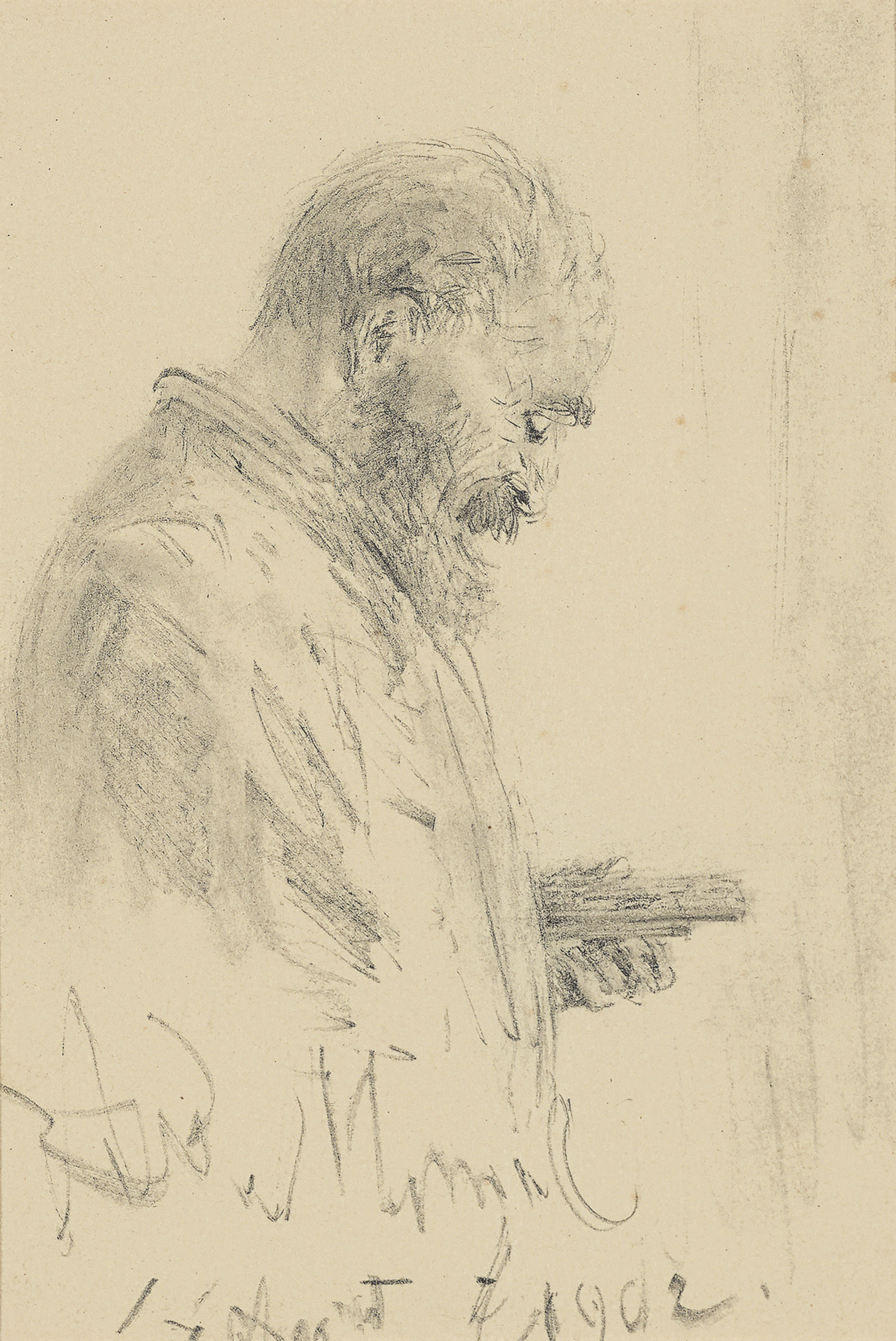 Profile study of a man with sketching block and pencils