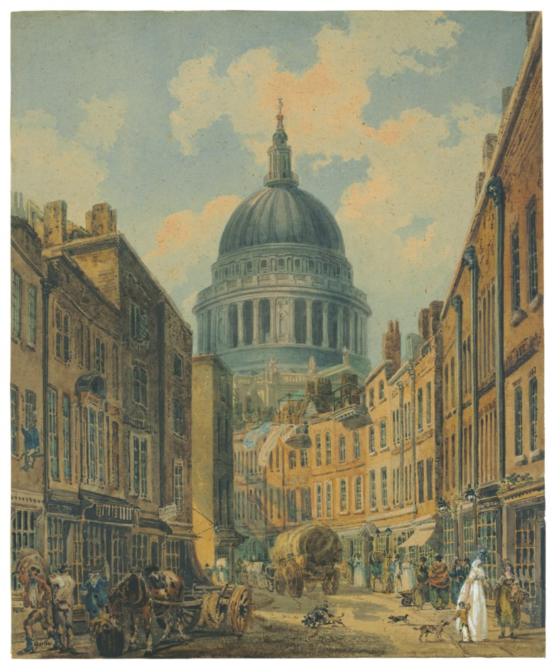 Thomas Girtin (London 1775-1802), St. Paul's Cathedral from St. Martin's-le-Grand, London. 19 x 15⅝  in (48.3 x 39.7 cm). Estimate $180,000-250,000. This lot is offered in Old Master & British Drawings on 31 January 2019 at Christie's in New York