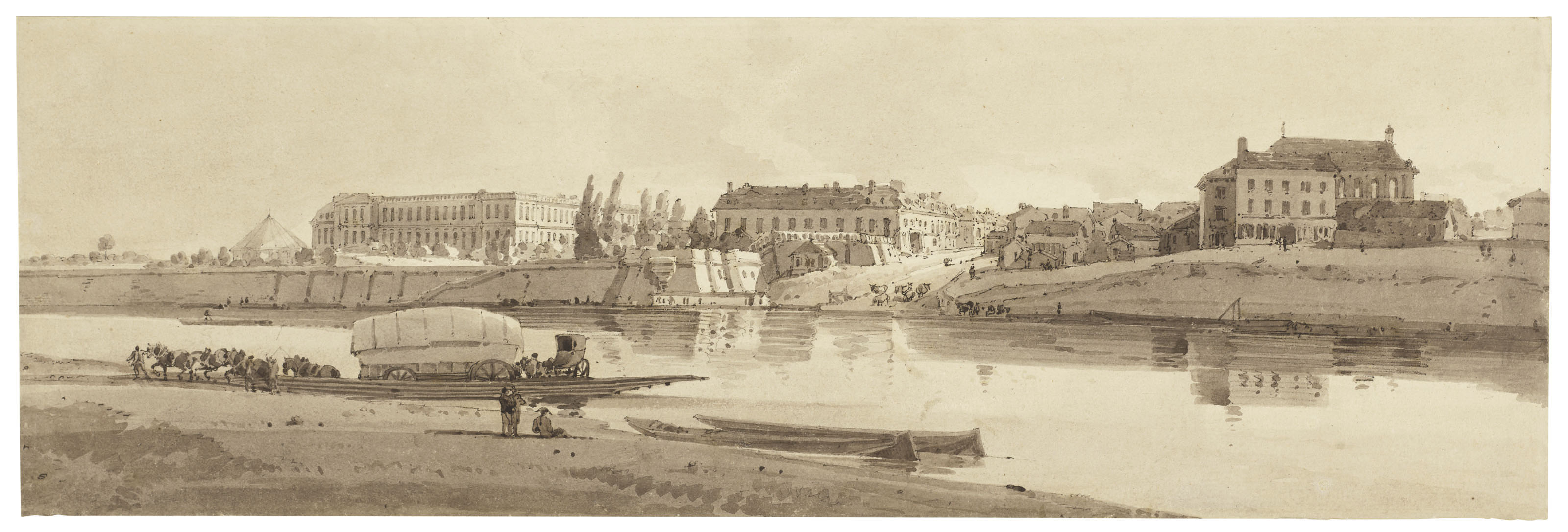 View of the palace and village of Choisy on the bank of the Seine, Paris