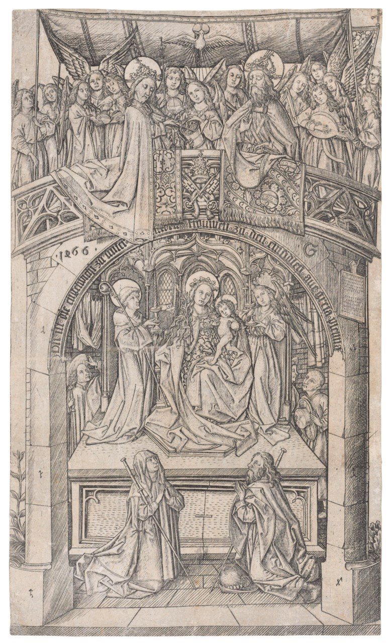 Master E.S. (active circa 1450-67), The Madonna of Einsiedeln Large Version. Sheet 207 x 122  mm. Sold for $372,500 on 29 January 2019 at Christie's in New York