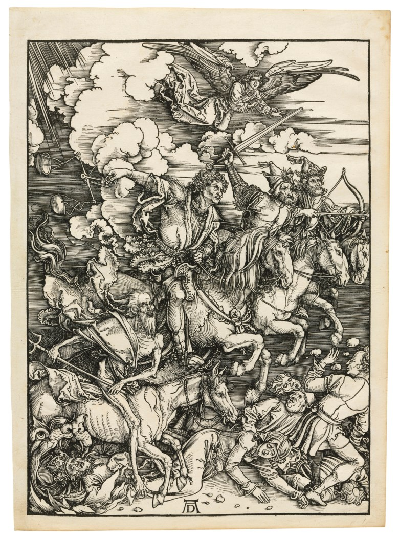 Albrecht Dürer (1471-1528), The Four Horsemen of the Apocalypse, from The Apocalypse. Block 388 x 280  mm, Sheet 429 x 305  mm. Estimate $250,000-350,000. Offered in Old Master Prints on 29 January 2019 at Christie's in New York