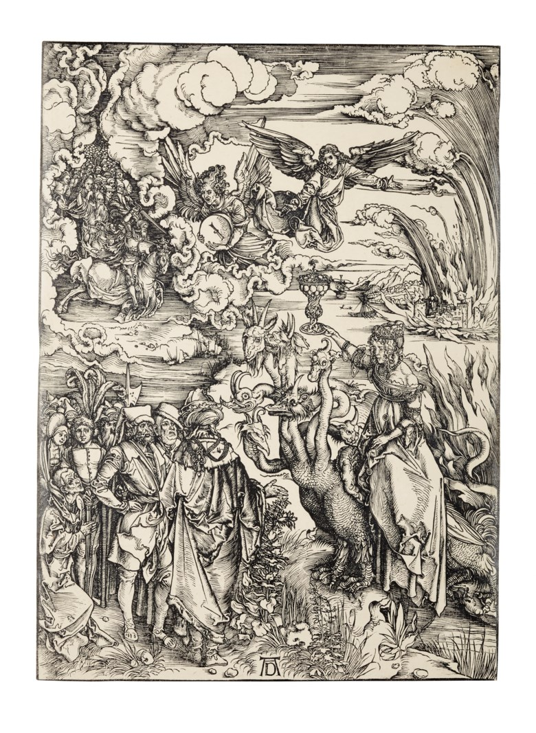 Albrecht Dürer (1471-1528), The Whore of Babylon, from The Apocalypse. Block and Sheet 391 x 282  mm. Estimate $40,000-60,000. Offered in Old Master Prints on 29 January 2019 at Christie's in New York