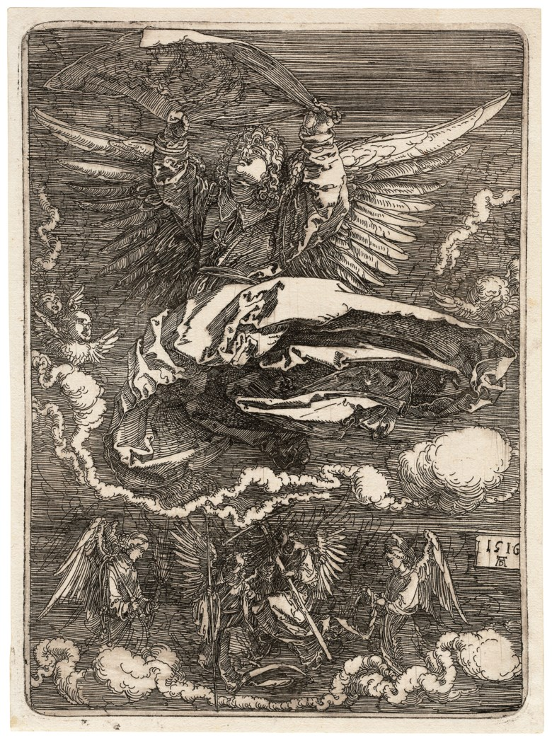 Albrecht Dürer (1471-1528), The Sudarium held by one Angel. Plate 187 x 135  mm, Sheet 195 x 143  mm. Estimate $20,000-30,000. Offered in Old Master Prints on 29 January 2019 at Christie's in New York