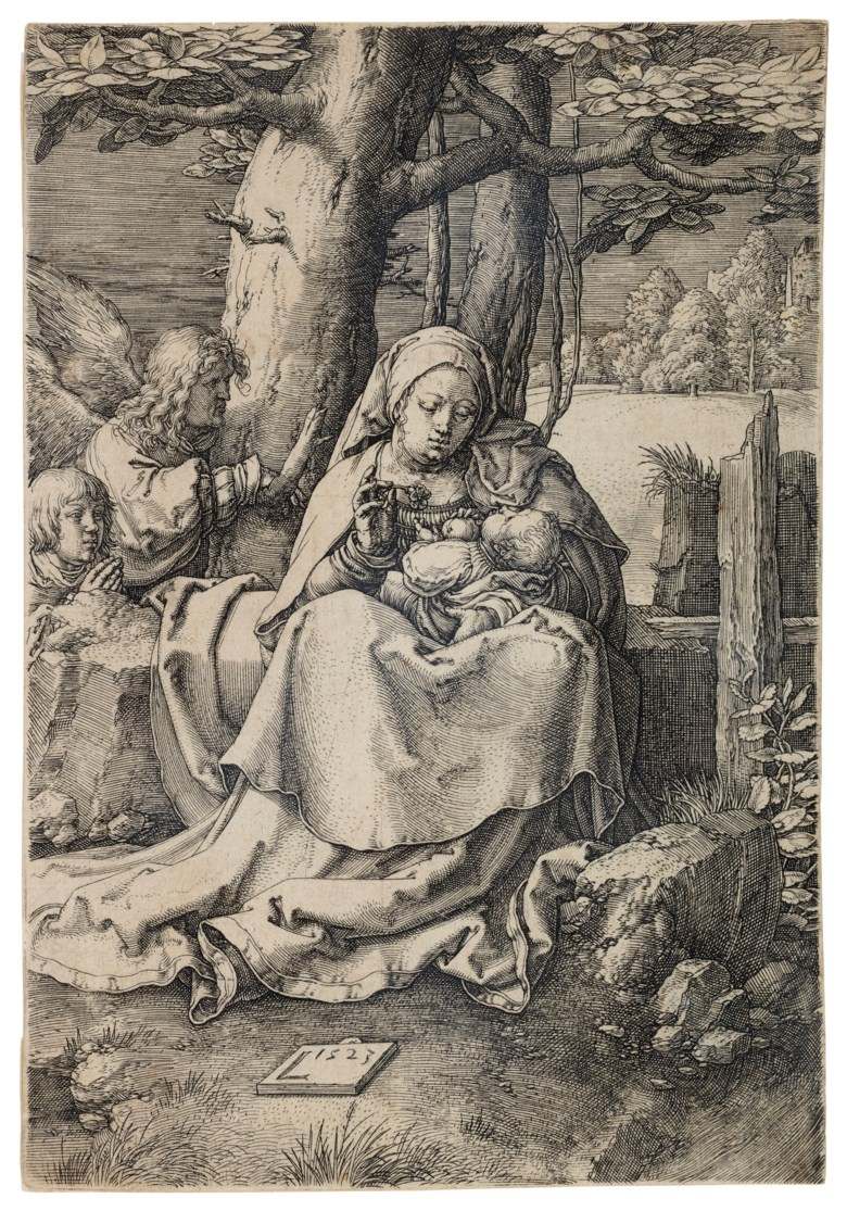Lucas van Leyden (1494-1533), The Virgin and Child with Two Angels. Plate 148 x 101  mm. Sheet 149 x 102  mm. Estimate $25,000-35,000. Offered in Old Master Prints on 29 January 2019 at Christie's in New York