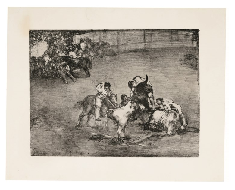 Francisco de Goya y Lucientes (1746-1828), Picador caught by a Bull (Bravo Toro), from The Bulls of Bordeaux. Image 307 x 412  mm, Sheet 424 x 530  mm. Estimate $40,000-60,000. Offered in Old Master Prints on 29 January 2019 at Christie's in New York