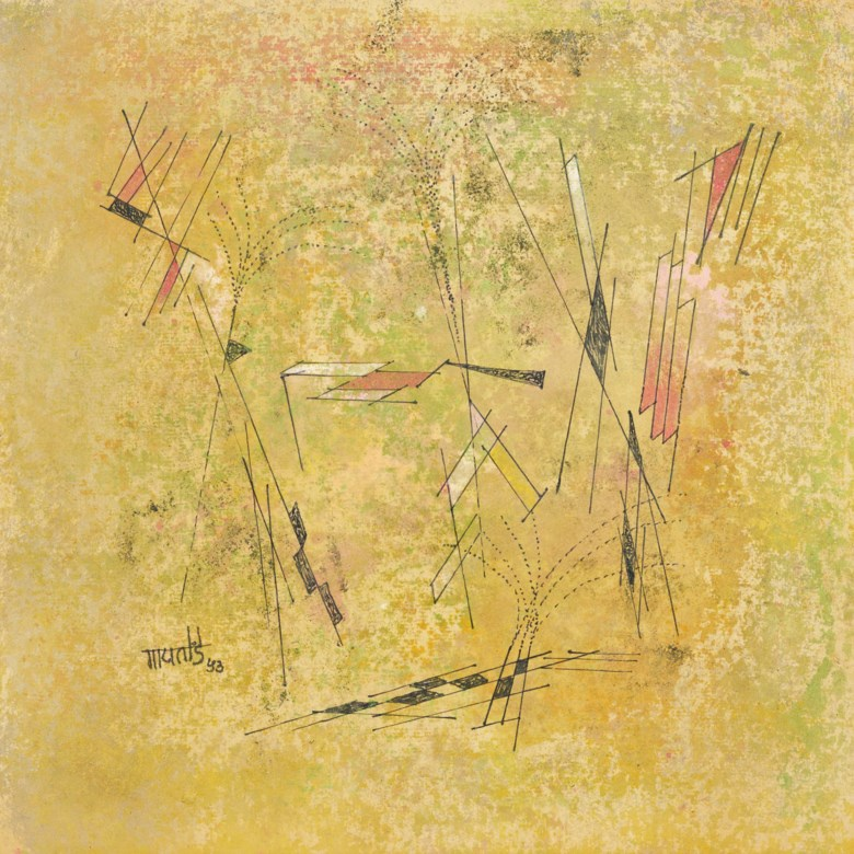 Vasudeo S. Gaitonde (1924-2001), Untitled, 1953. 9 x 9 in (22.9 x 22.9 cm). Sold for $56,250 on 20 March 2019 at Christie's in New York