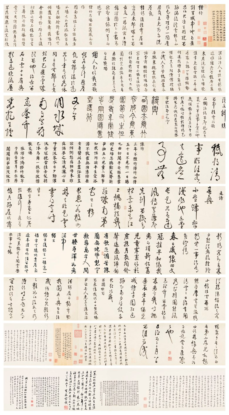 Li Dongyang (1447-1516), Fourteen Poems on Planting Bamboo, 10¾ x 511¾ in (27.5 x 1300 cm). Sold for $4,575,000 on 19 March 2019 at Christie's in New York