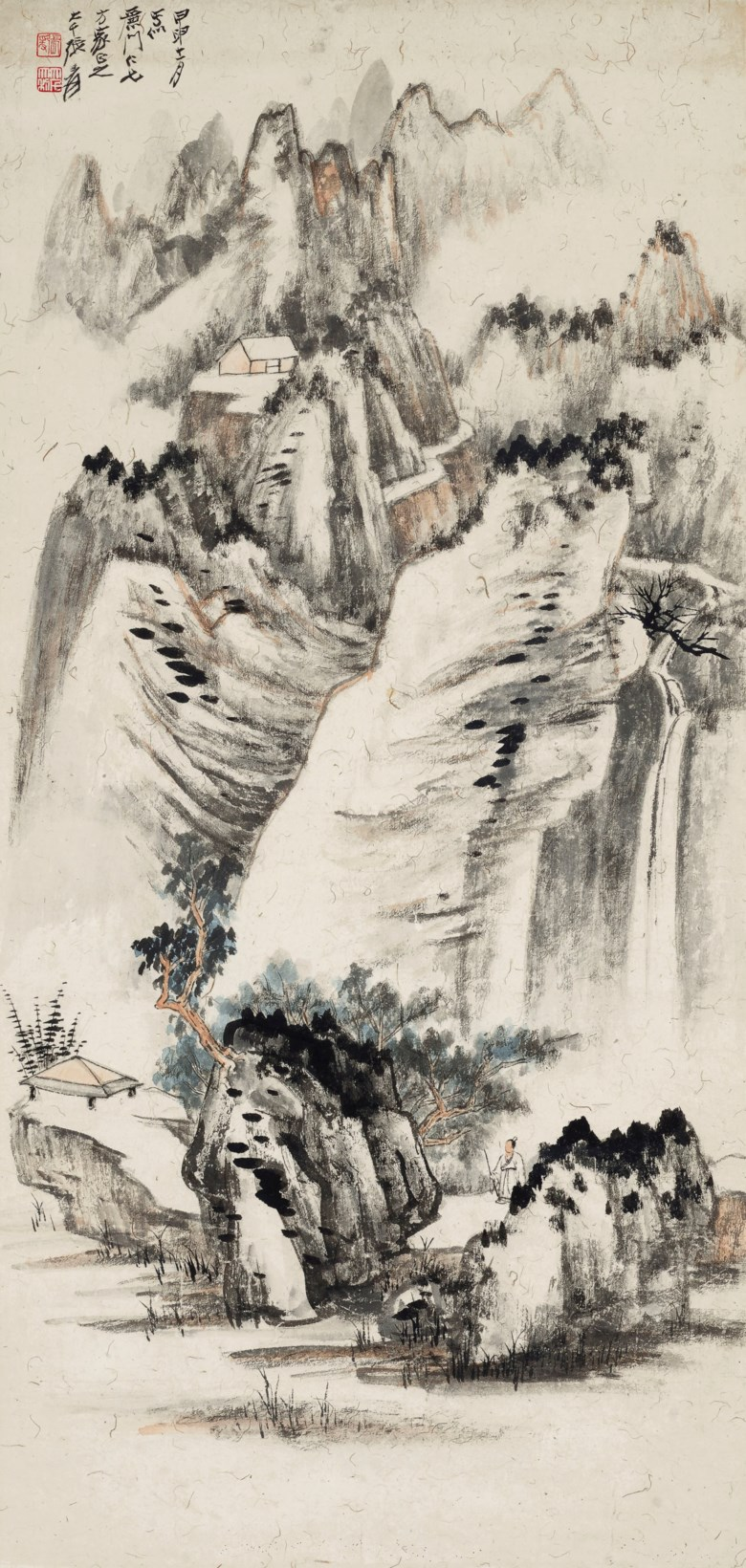 Zhang Daqian (1899-1983), Visiting Friends. Scrolled, mounted and framed, ink on paper. 34¾ x 15  in (88.5 x 38.3 cm). Estimate $75,000-90,000. Offered in Fine Chinese Paintings on 19 March 2019 at Christie's in New York