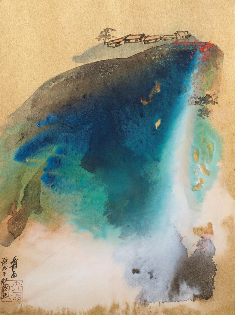 Zhang Daqian (1899-1983), Mountain Living in Autumn. Scroll, mounted and framed, ink and colour on Japanese gold board. 23⅝ x 17¾  in (58.4 x 43.2  cm). Estimate $200,000-300,000. Offered in Fine Chinese Paintings on 19 March 2019 at Christie's in New York