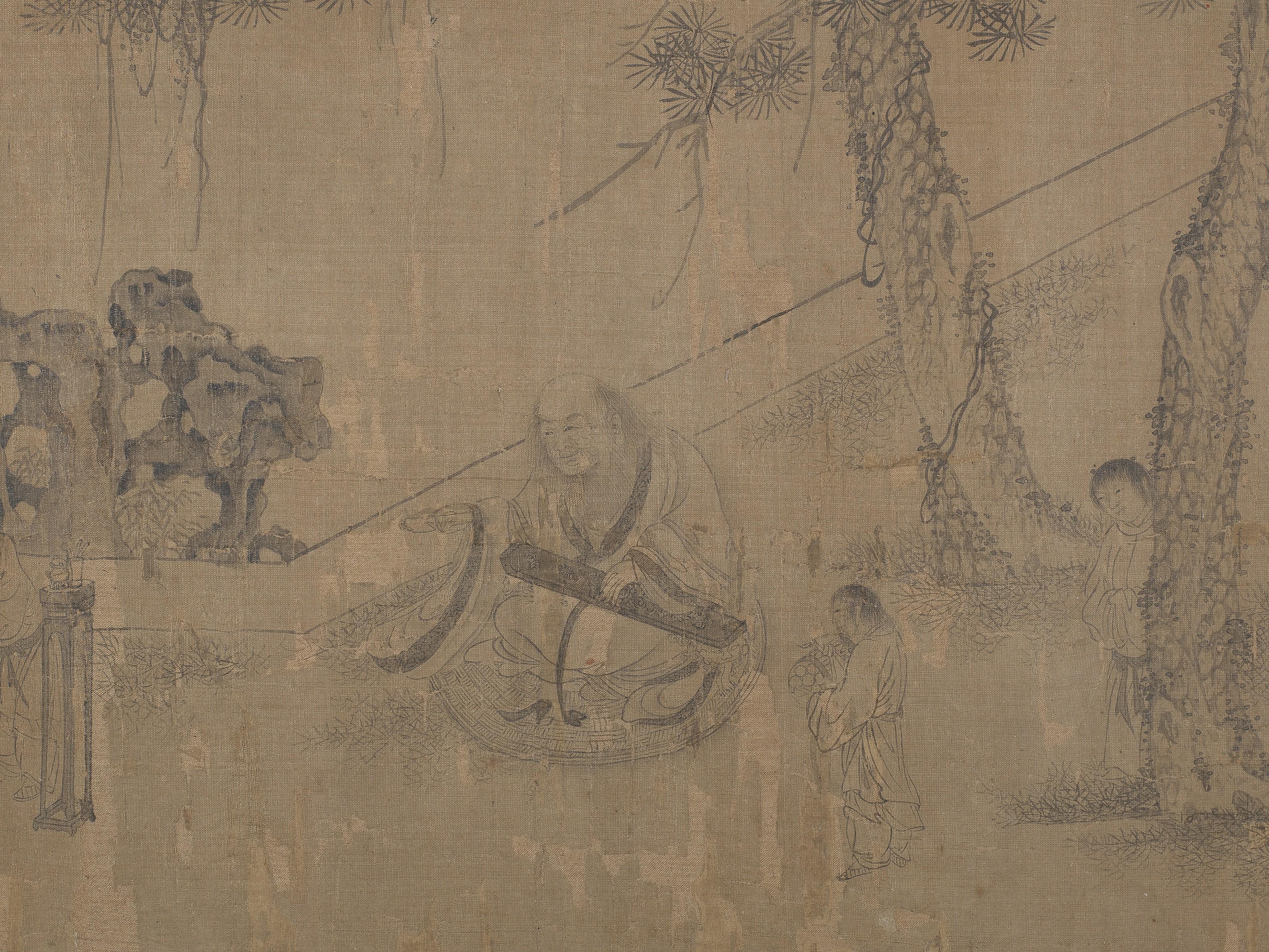 Lienzo con firmas de Li Gonglin Zhao Mengfu.