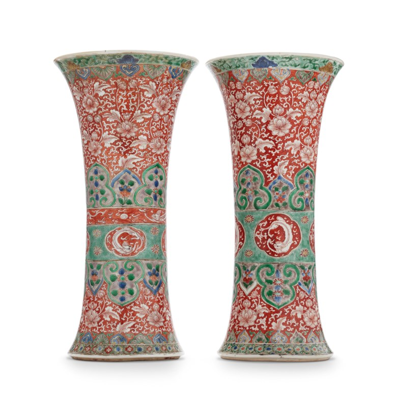 A large pair of famille verte beaker vases, Kangxi period (1662-1722). 17⅝  in (44.7 cm) high, each. Estimate $10,000-15,000. Offered in Chinese Export Art Featuring the Hodroff Collection, Part IV on 17 January 2019 at Christie's in New York