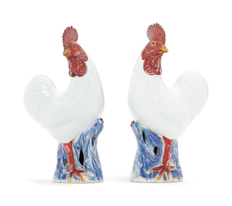 A pair of white cockerels, Qianlong period (1736-1795). 13¾  in (34.9  cm) high, each. Sold for $18,750 on 17 January 2019 at Christie's in New York