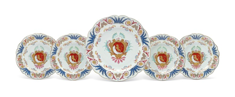 A set of French market armorial dishes, Yongzheng period, circa 1730. 14  in (35.5  cm) diameter, the large dish. Estimate $6,000-8,000. Offered in Chinese Export Art Featuring the Hodroff Collection, Part IV on 17 January 2019 at Christie's in New York