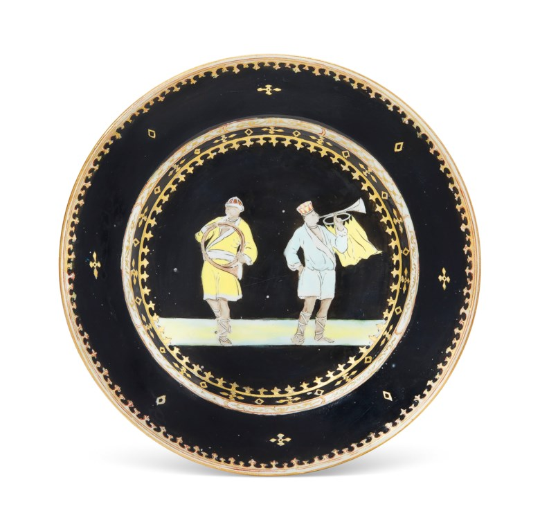A rare black-ground 'trumpeter' plate, Qianlong period, circa 1745. 9  in (22.8 cm) diameter. Estimate $10,000-15,000. Offered in Chinese Export Art Featuring the Hodroff Collection, Part IV on 17 January 2019 at Christie's in New York