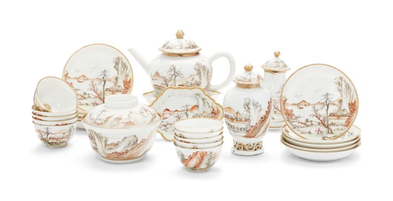 A grisaille, gilt and sepia tea service, Qianlong period, circa 1740. Ten saucers, 4½  in diameter (11.4  cm). Sold for $12,500 on 17 January 2019 at Christie's in New York