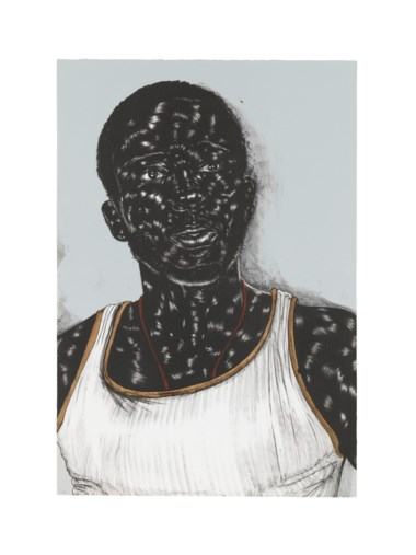 Toyin Ojih Odutola (b. 1985), Birmingham (center). Sheet 24 x 16½ in (609 x 419 mm). Estimate $7,000-10,000. Offered in Contemporary Edition, 9-16 July 2019, Online