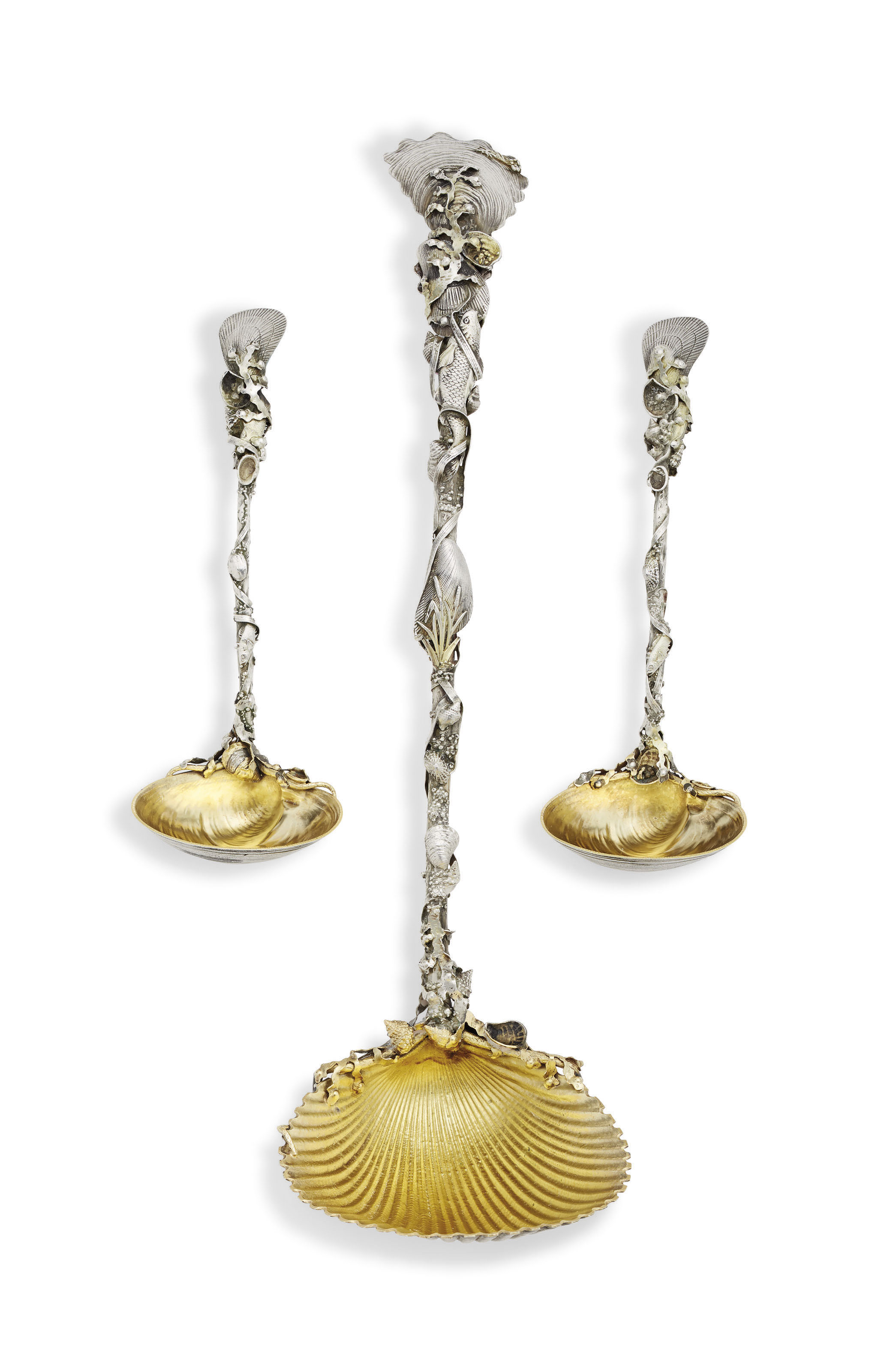 AN AMERICAN PARCEL-GILT SILVER PUNCH LADLE AND TWO MATCHING SAUCE LADLES