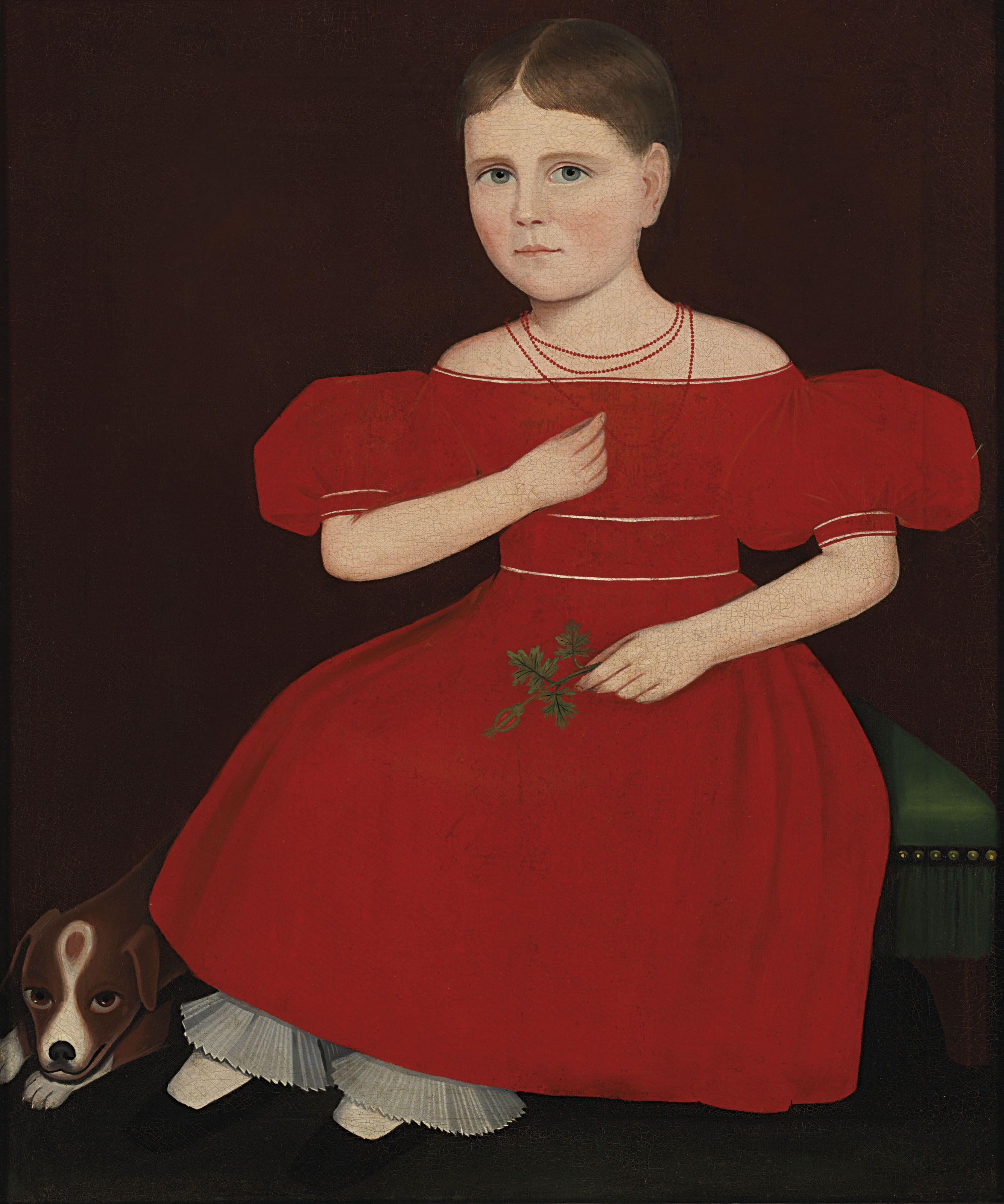 Girl in a Red Dress with a Dog