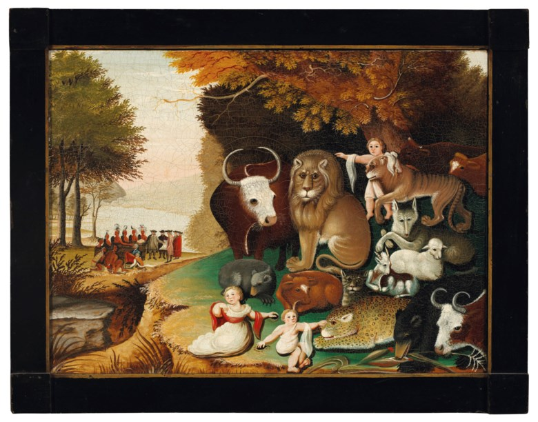 Edward Hicks (1780-1849), Peaceable Kingdom, circa 1833. Oil on canvas. 17½ x 23½ in. Estimate $800,000-1,200,000. Offered in Important American Furniture, Folk Art, Silver and Prints on 17-18 January 2019 at Christie's in New York