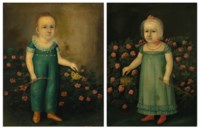 A Pair of Portraits: A Boy and Girl with Butterflies