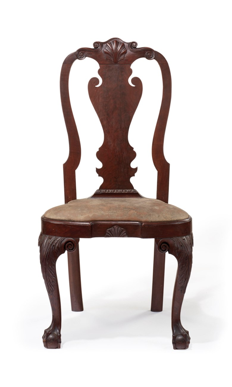 The Powel-Griffitts family Queen Anne carved walnut compass-seat side chair, Philadelphia, circa 1750. Sold for $348,500 on 17-18 January 2019 at Christie's in New York