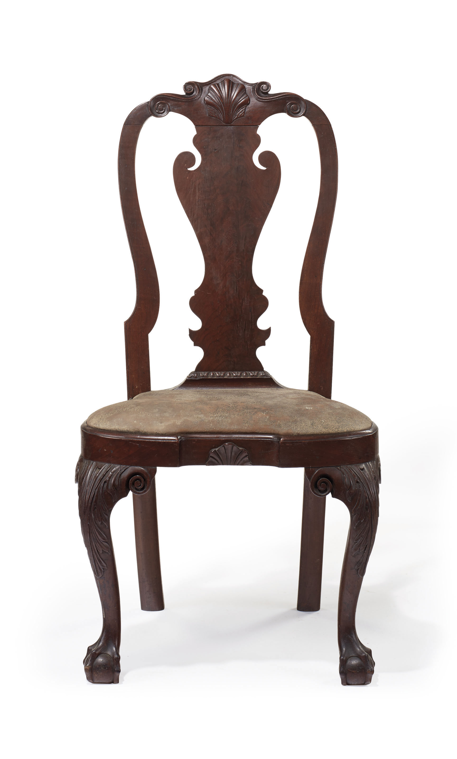 THE POWEL-GRIFFITTS FAMILY QUEEN ANNE CARVED WALNUT COMPASS-SEAT SIDE CHAIR
