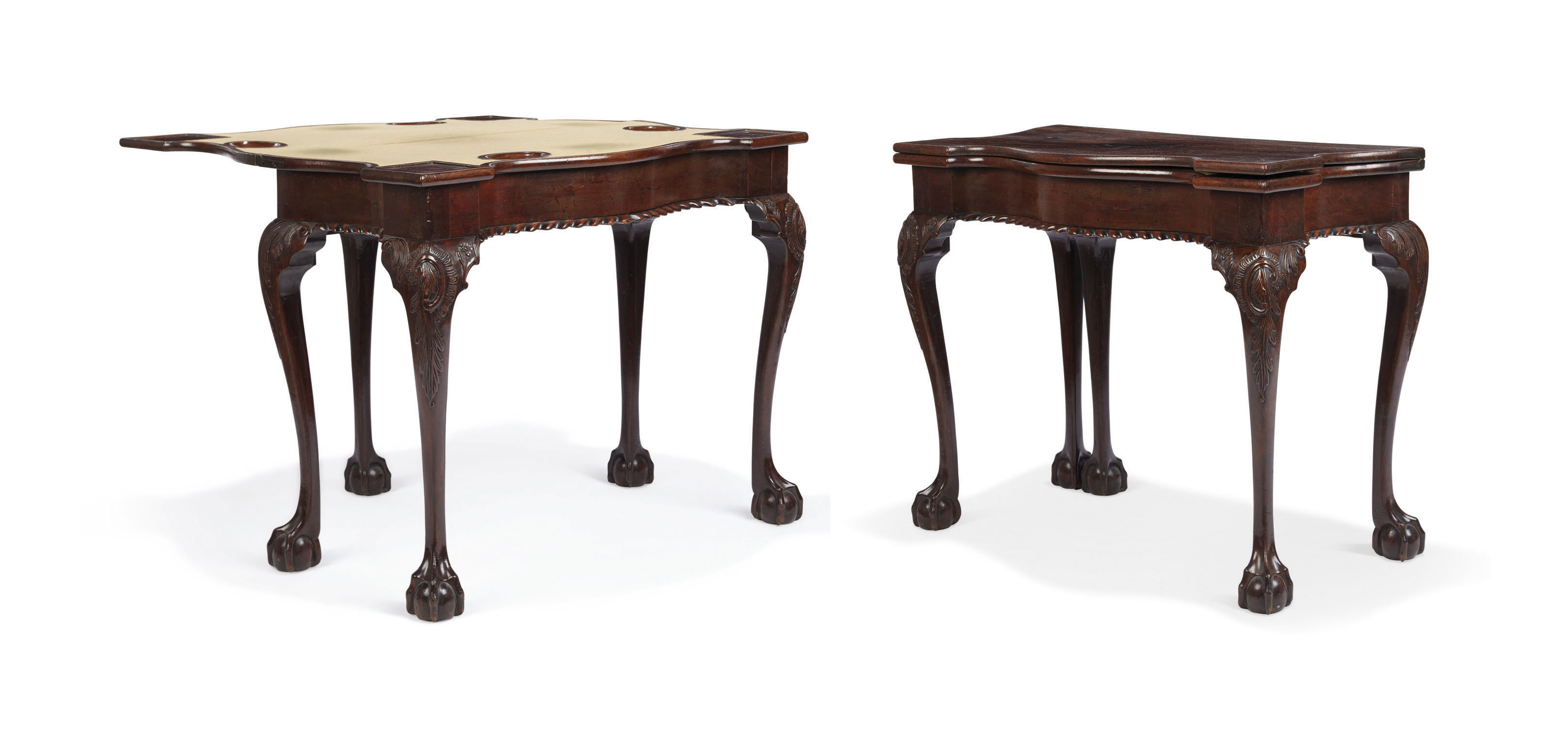 A CHIPPENDALE CARVED AND FIGURED MAHOGANY CARD TABLE
