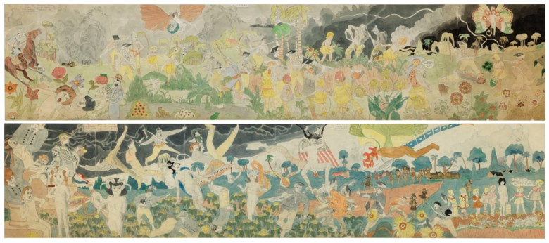 Henry Darger (1892-1973), 148 At Jennie Richee During fury of storm are unsuccessfully attached by Glandelinians149 At Jennie Richee narrowly escape capture but Blengins come to rescue. Double sided watercolour, carbon transfer, ink, graphite and collage on pieced paper. 108¼ x 23 in (275 x 58.4 cm). Sold for $684,500 on 18 January 2019 at Christie's in New York