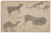 Goat, Camel, Lion and Figures, circa 1939