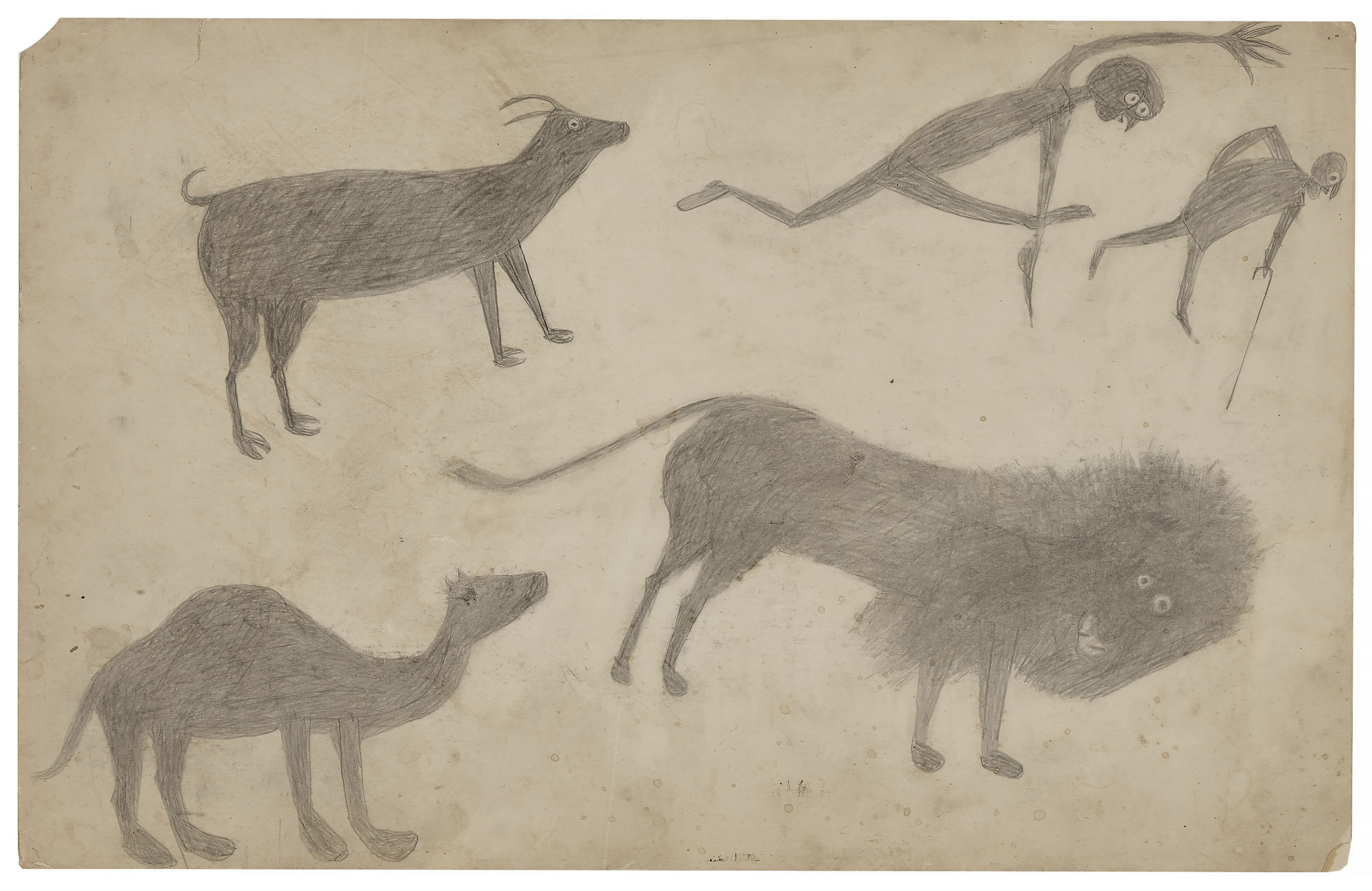 Goat, Camel, Lion and Figures, circa 1939