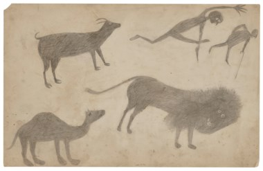 Bill Traylor (circa 1853-1949), Goat, Camel, Lion and Figures, circa 1939. Estimate $75,000-100,000. This lot is offered in Outsider and Vernacular Art on 18 January 2019 at Christie's in New York