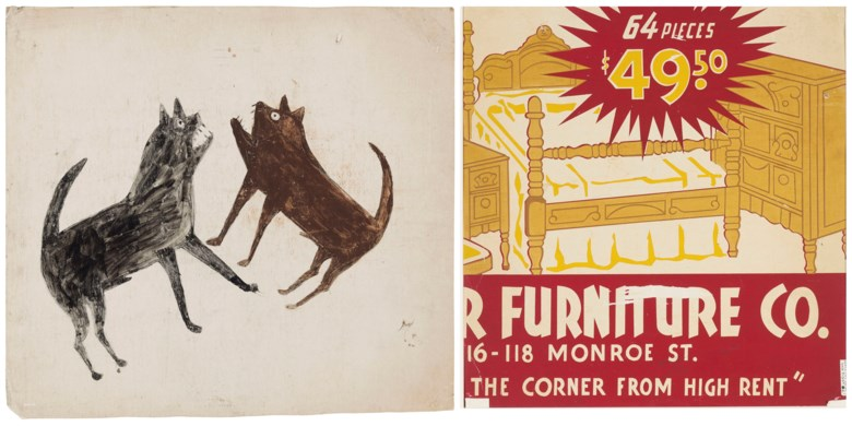 Bill Traylor (circa 1853-1949), Fighting Dogs, 1939-1942. Estimate $50,000-80,000. This lot is offered in Outsider and Vernacular Art on 18 January 2019 at Christie's in New York