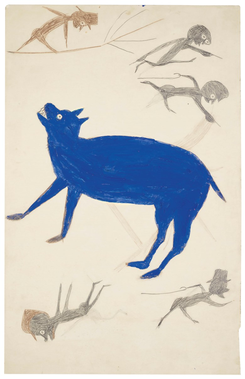 Bill Traylor (circa 1853-1949), Blue Animal with Five Figures, 1939-1942. Estimate $40,000-80,000. This lot is offered in Outsider and Vernacular Art on 18 January 2019 at Christie's in New York