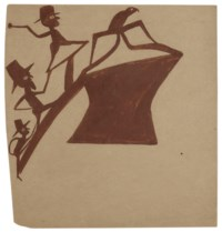 Brown Figures Chasing Bird Up a Construction, 1939-1942