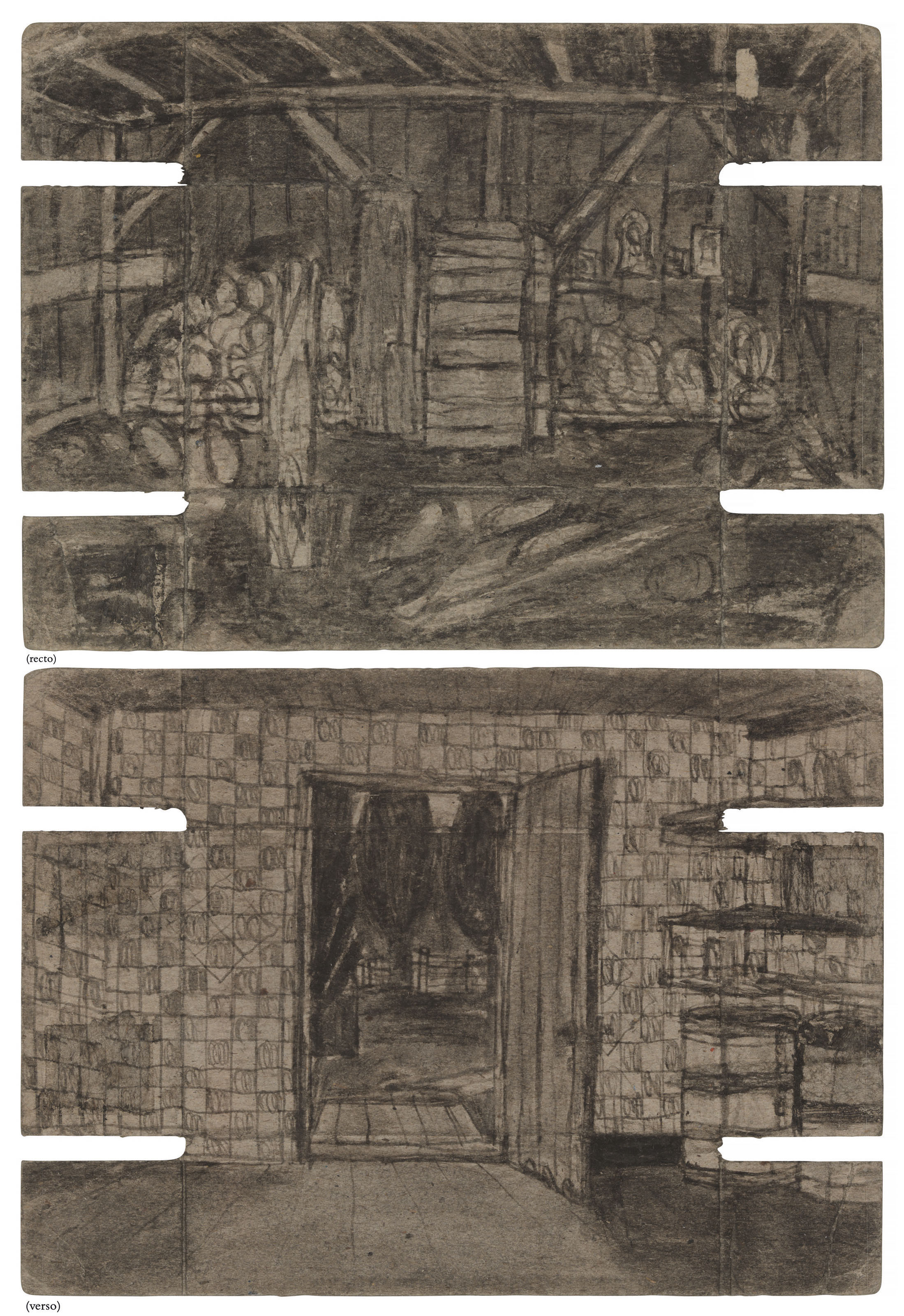 Untitled (Interior Barn/Room with Open Door), double sided