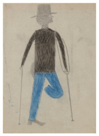 One-Legged Man with Bent Knee on Crutch with Cane, 1939-1942