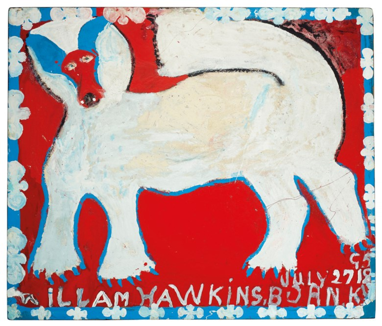 William Hawkins (1895-1990), White Dog, 1988. Estimate $30,000-50,000. This lot is offered in Outsider and Vernacular Art on 18 January 2019 at Christie's in New York
