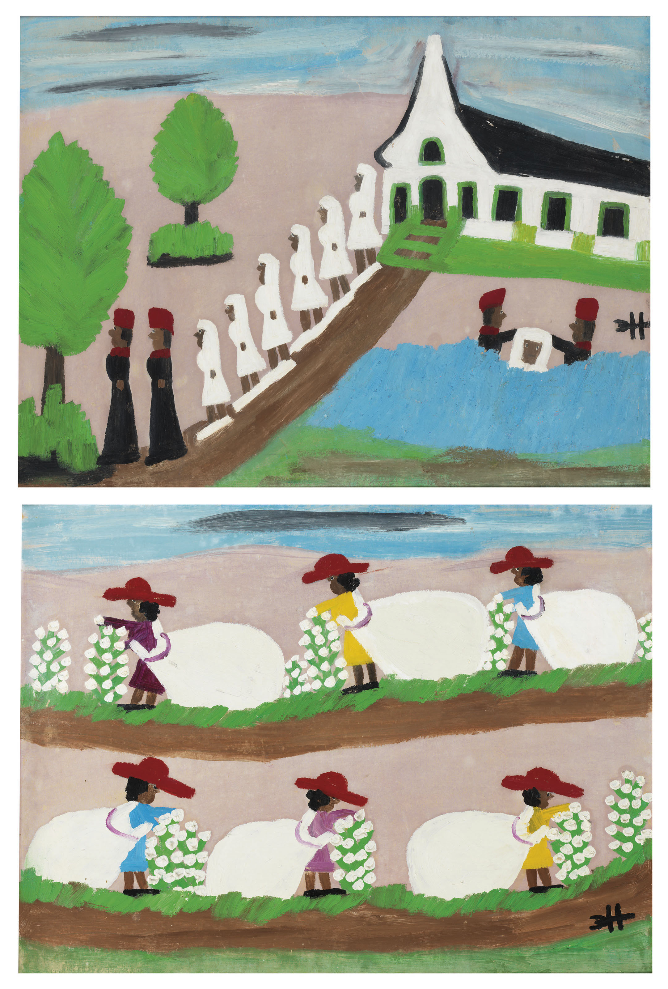 Picking Cotton and Leaving Church, 1970s, two paintings