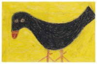 Tricia Got Her Rose Garden, It Was the Only Thing to Do After the Mule Died, and Untitled (Crow with Yellow Background), circa 1975-1970, three drawings