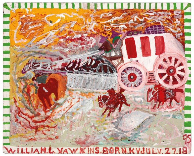 William Hawkins (1895-1990), The Overland Stagecoach, 1986. Estimate $20,000-40,000. This lot is offered in Outsider and Vernacular Art on 18 January 2019 at Christie's in New York