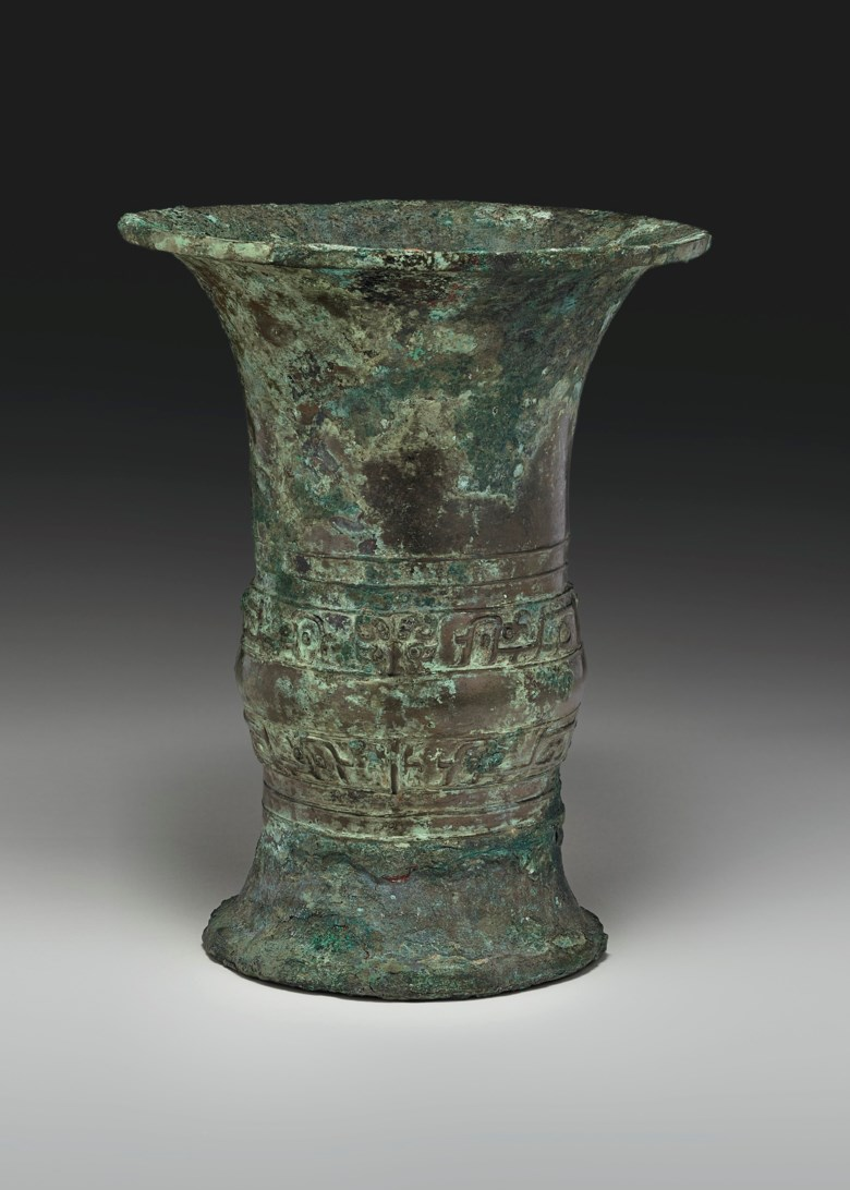 A bronze ritual wine vessel, Zun, early Western Zhou dynasty, 11th-10th century BC, 10½ in. (26.8 cm.) high. 10½  in (26.8  cm) high. Estimate $60,000-80,000. Offered in Important Chinese Ceramics and Works of Art on 13 September 2019 at Christie's in New York