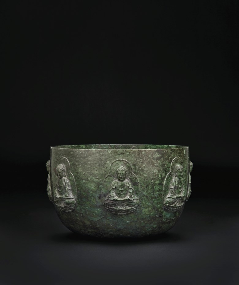 A rare and large mottled dark green jade alms bowl, Qianlong period (1736-1795). 9½  in (24.1  cm)  diam. Estimate $200,000-300,000. Offered in Important Chinese Ceramics and Works of Art on 13 September 2019 at Christie's in New York