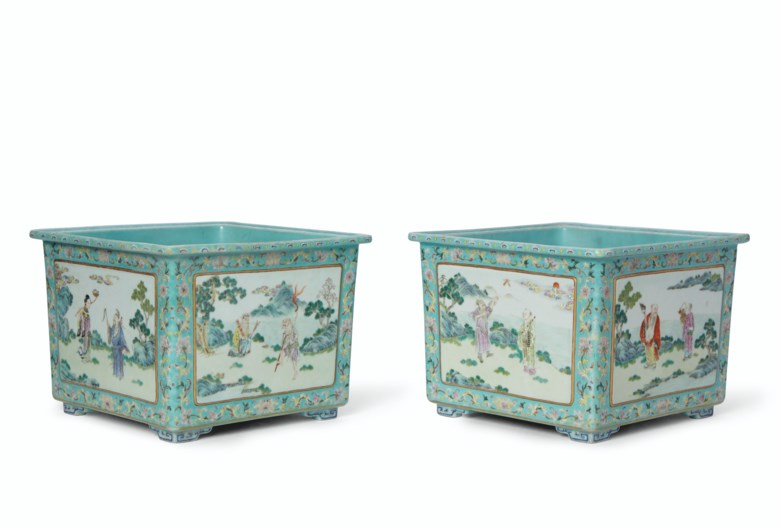 A rare pair of famille rose turquoise-ground square jardinières, Shendetang Zhi marks in iron-red, Daoguang period (1821-1850). 10⅛  in (25.7  cm) wide. Estimate $60,000-80,000. Offered in Important Chinese Ceramics and Works of Art on 13 September 2019 at Christie's in New York