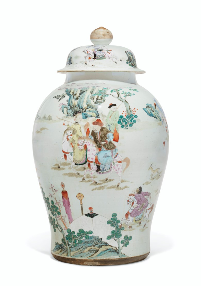 A massive famille rose baluster jar and cover, Yongzheng period (1723-1735). 32½ in (82.6 cm) high. Estimate $40,000-60,000. Offered in Important Chinese Ceramics and Works of Art on 13 September 2019 at Christie's in New York